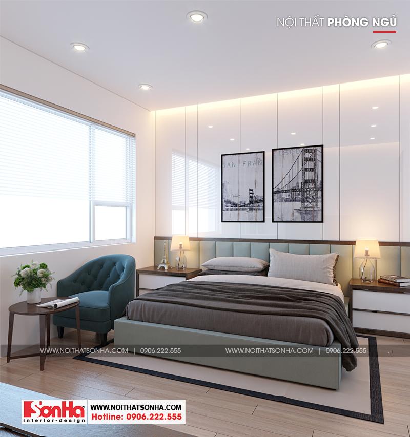 Thiết kế nội thất phòng ngủ hiện đại nhưng vô cùng đẹp mắt với gam màu tinh tế