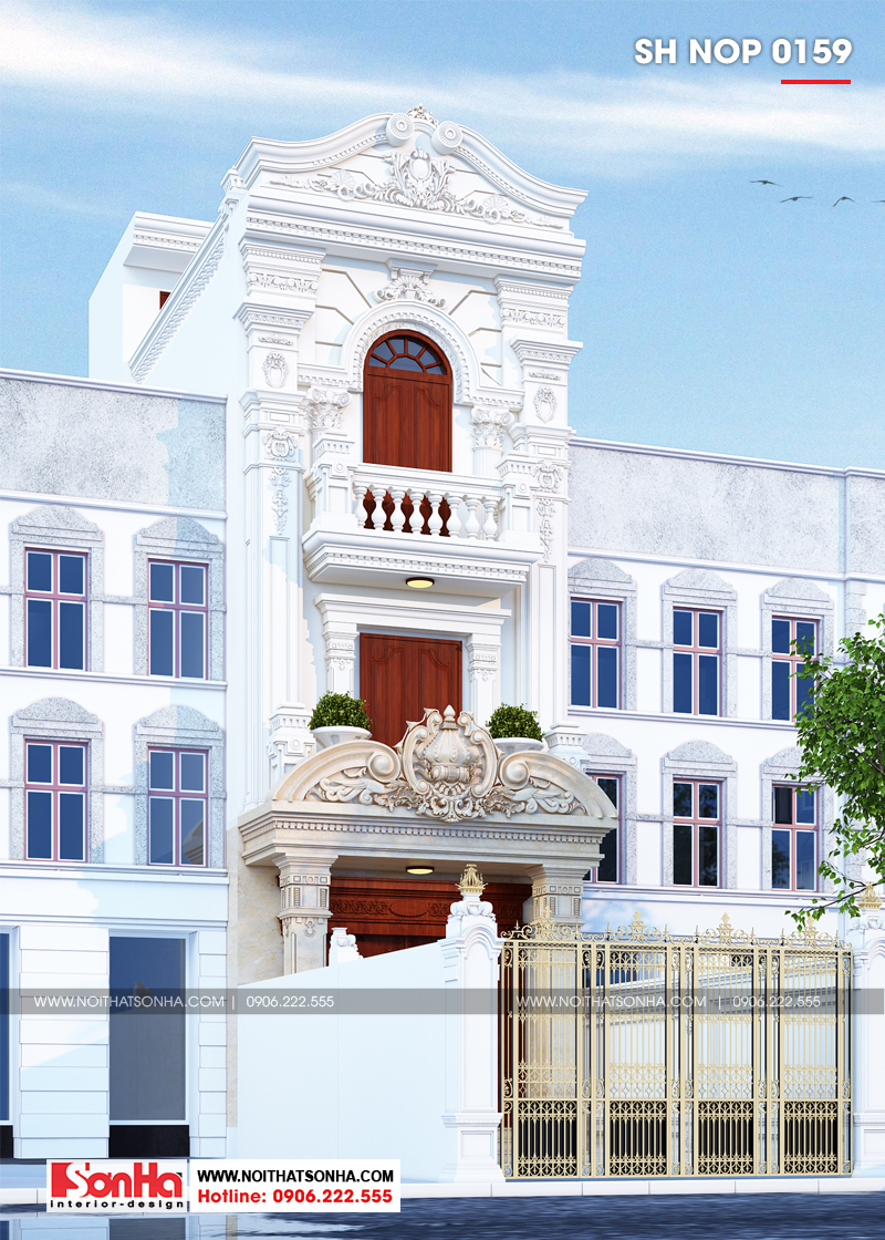 Mẫu nhà ống cổ điển Pháp thiết kế đẹp cả kiến trúc và nội thất