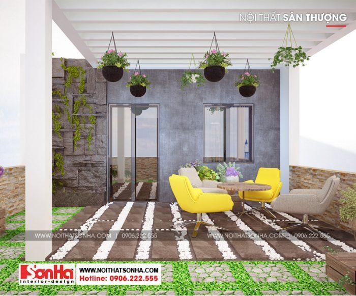 Thiết kế nội thất góc tiểu cảnh sân thượng là nơi thư giản giải trí quý báu