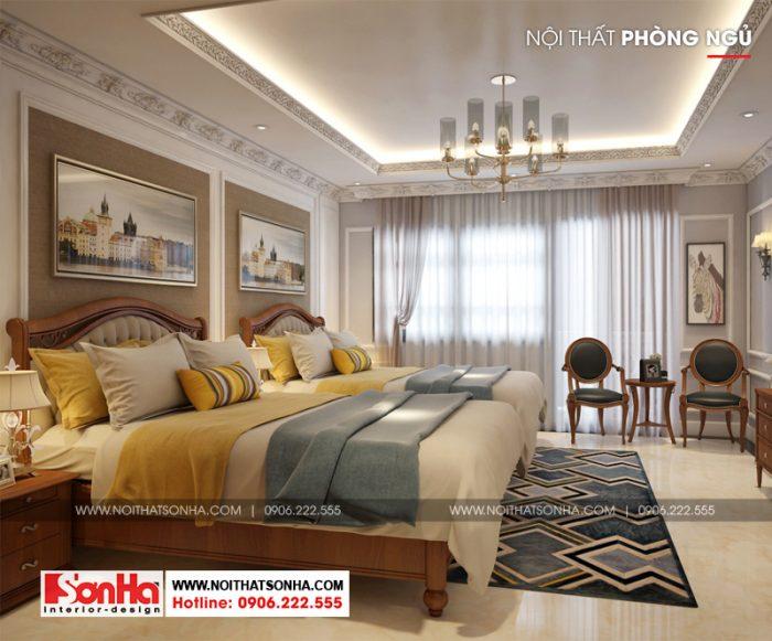 Màu ghi và trắng được kết hợp tinh tế làm nên không gian phòng ngủ sang trọng