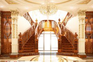 14 Thiết kế nội thất sảnh thang biệt thự tân cổ điển 3 tầng khu đô thị vinhomes hải phòng sh btp 0125