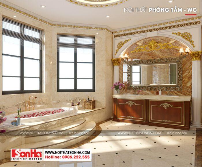 Còn thấy là thiết kế phòng tắm đẳng cấp của ngôi biệt thự tân cổ điển 3 tầng