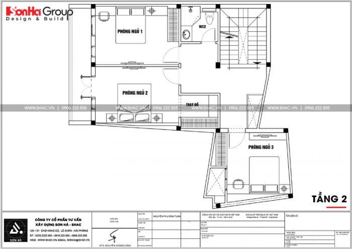 Mặt bằng công năng tầng 2 nhà ống chữ L phong cách hiện đại tại Hải Phòng