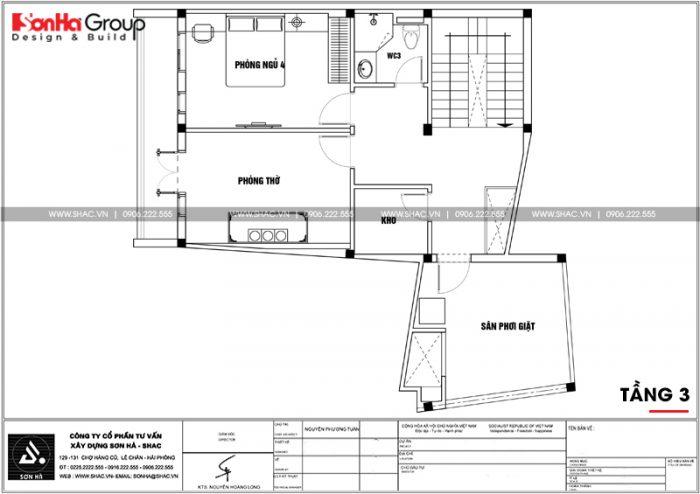 Mặt bằng công năng tầng 3 nhà ống chữ L phong cách hiện đại tại Hải Phòng
