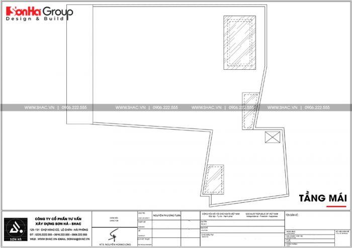 Mặt bằng công năng tầng mái nhà ống chữ L phong cách hiện đại tại Hải Phòng