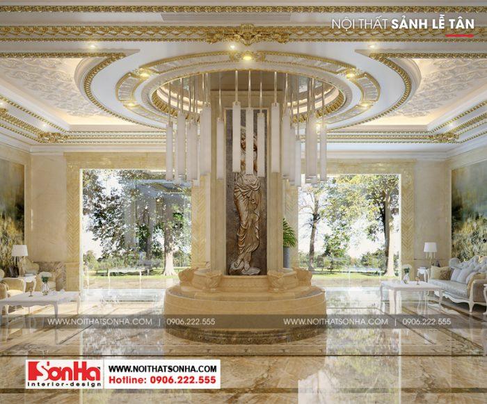 Không gian nội thất sảnh khách sạn và lễ tân sở hữu view đẹp mắt