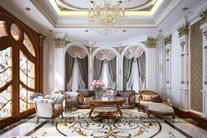 2 Thiết kế nội thất phòng khách 2 biệt thự tân cổ điển khu đô thị vinhomes hải phòng sh btp 0125