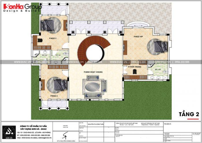 Bản vẽ mặt bằng công năng tầng 2 biệt thự tân cổ điển Vinhomes Imperia