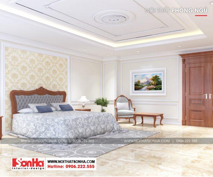 Trong diện tích rộng phòng ngủ được trang trí nội thất xa hoa đẹp mắt