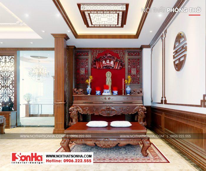 Thiết kế nội thất phòng thờ biệt thự kiểu Pháp 5 tầng tại Ninh Bình