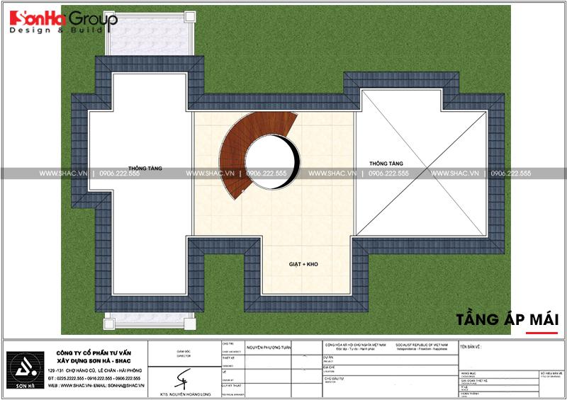 23 Mặt bằng công năng tầng áp mái biệt thự tân cổ điển 3 tầng tại hải phòng