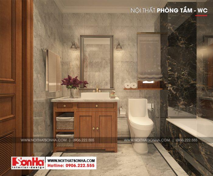 Phương án thiết kế nội thất phòng tắm và vệ sinh của biệt thự Pháp 5 tầng