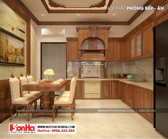 Thiết kế phòng bếp ăn đẹp mắt với đồ nội thất gỗ màu sắc ấm áp