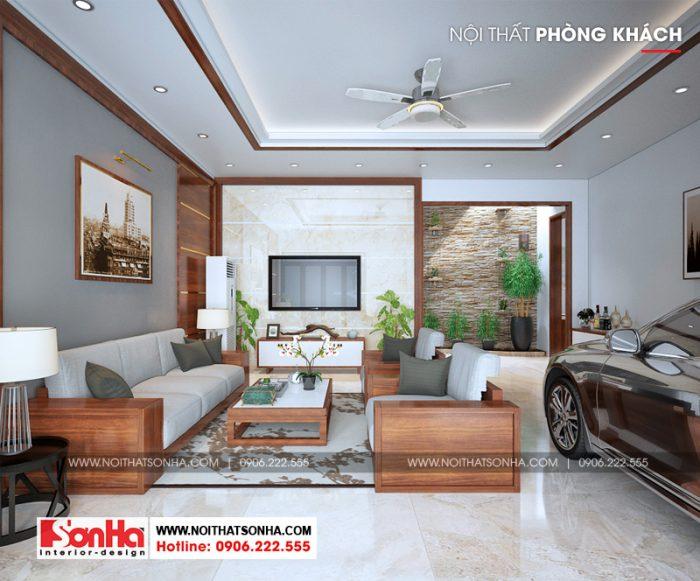 Phương án thiết kế nội thất phòng khách hiện đại của nhà ống 3 tầng tại Hải Phòng