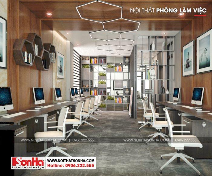 Không gian làm việc chung được trang trí nội thất đẹp với vật liệu gỗ
