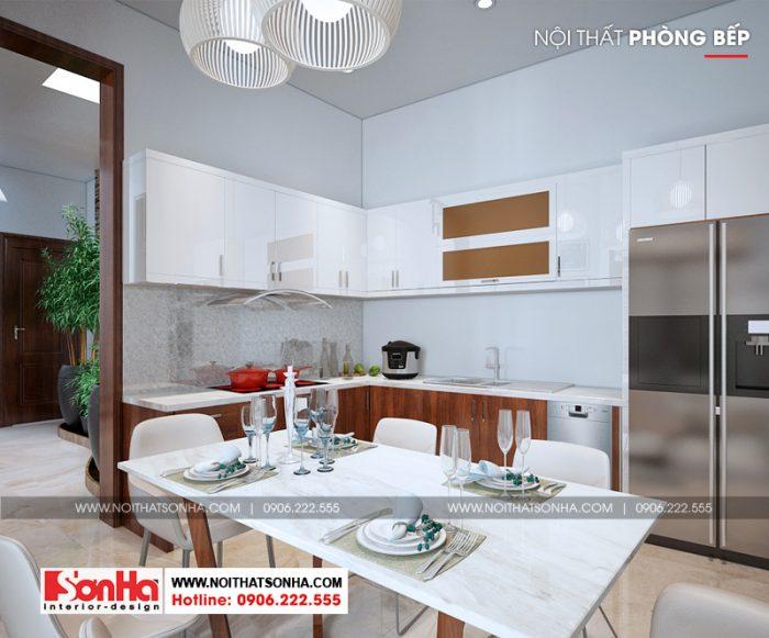Không gian nội thất phòng bếp ăn nhà phố phong cách hiện đại 3 tầng sang trọng