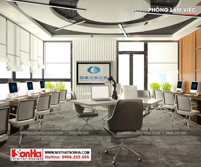 Thêm một phương án thiết kế nội thất phòng làm việc chung của tòa nhà