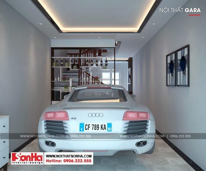 Thiết kế nội thất gara ô tô trong không gian nhà phố tân cổ điển 4 tầng