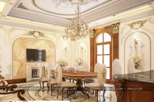 4 Thiết kế nội thất phòng ăn biệt thự tân cổ điển 3 tầng khu đô thị vinhomes hải phòng sh btp 0125