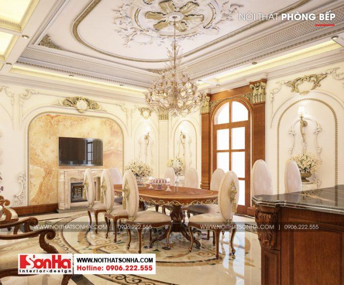 Nội thất phòng bếp ăn càng thêm sang trọng với bộ bàn ghế phong cách châu Âu