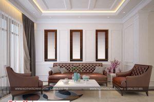 4 Thiết kế nội thất phòng khách biệt thự hiện đại mái thái tại hải phòng sh btd 0071