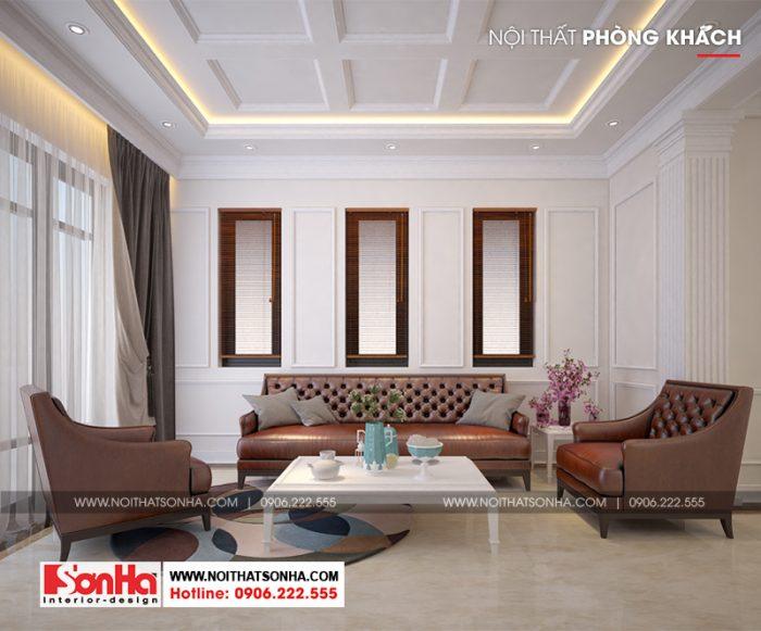 Không gian phòng khách phong cách tân cổ điển của ngôi biệt thự hiện đại 3 tầng