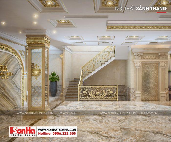 Gam màu chủ đạo trong thiết kế sảnh và quầy lễ tân khách sạn là vàng kim