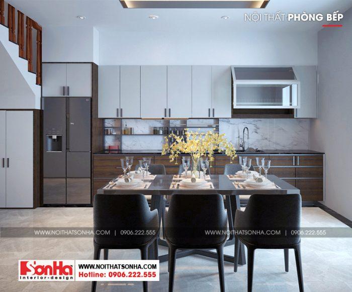 Không gian phòng bếp ăn nhà phố đẹp với bố trí đồ nội thất gỗ hài hòa ấn tượng