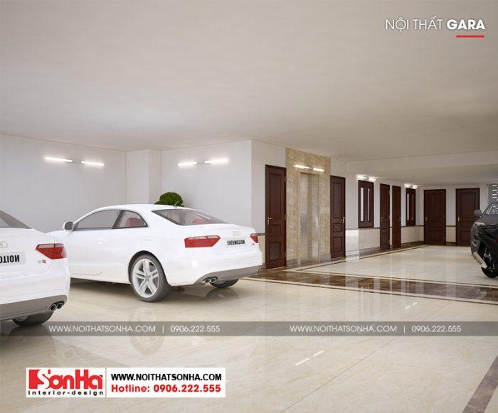 Thiết kế nội thất gara ô tô tại tầng hầm ngôi biệt thự kiểu Pháp tại Ninh Bình