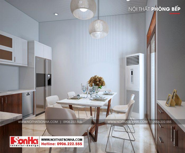 Thiết kế nội thất phòng bếp ăn hiện đại với nội thất gỗ đường nét tinh tế