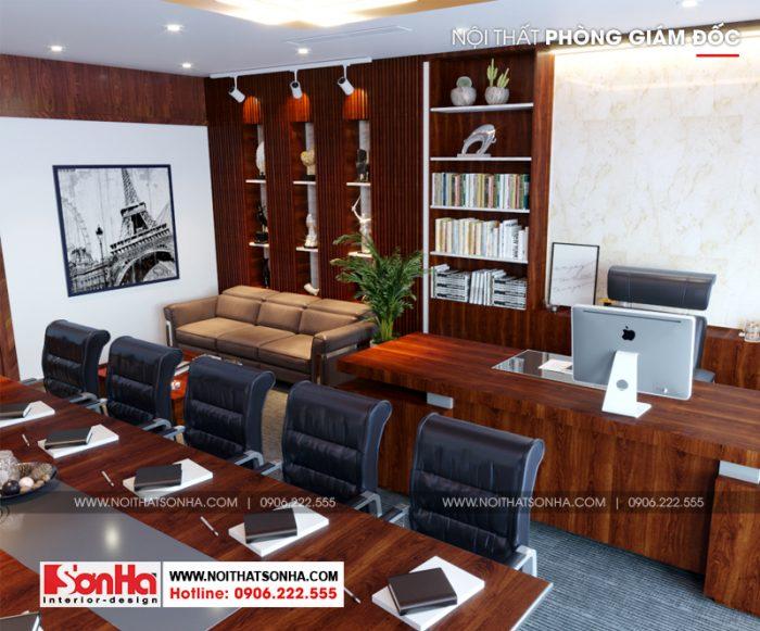 Phòng giám đốc kết hợp phòng họp ấn tượng khi sử dụng chủ yếu nội thất gỗ