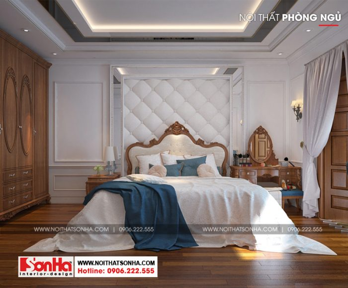 Nội thất gỗ cùng sàn gỗ làm gia tăng sự ấm áp của không gian phòng ngủ