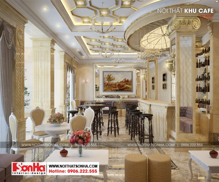 Thiết kế nội thất khách sạn khu cafe phong cách cổ điển của khách sạn 3 sao