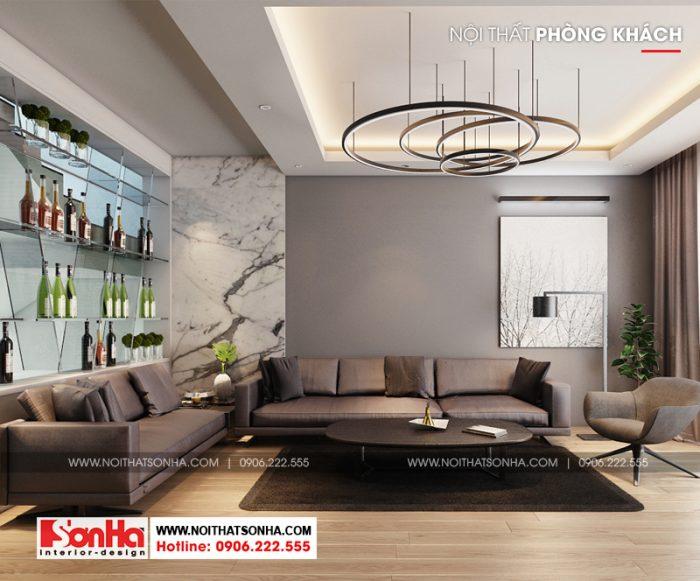 Thiết kế phòng khách đẹp gam màu trầm với bộ sofa sang trọng