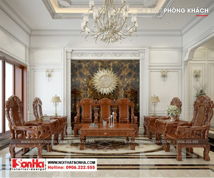 Mẫu thiết kế nội thất phòng khách biệt thự kiểu Pháp 5 tầng tại Ninh Bình