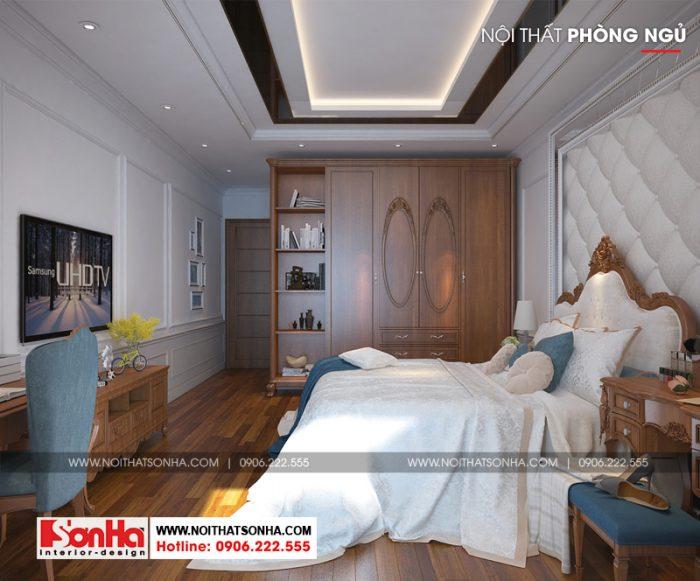 Thiết kế nội thất phòng ngủ được chăm chút sang trọng từng tiểu tiết