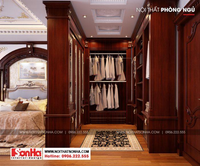 Khu vực thay đồ trang bị nội thất gỗ trong phạm vi phòng ngủ biệt thự tân cổ điển