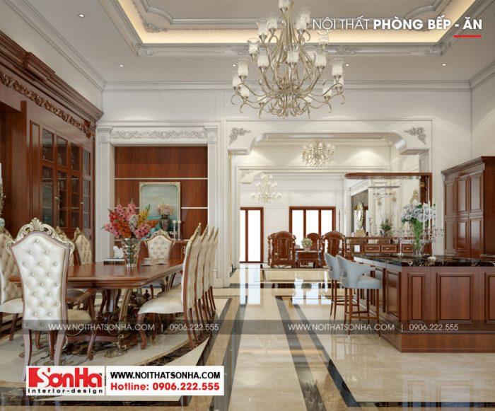 Không gian nội thất phòng bếp ăn phong cách Pháp cổ điển của biệt thự đẹp