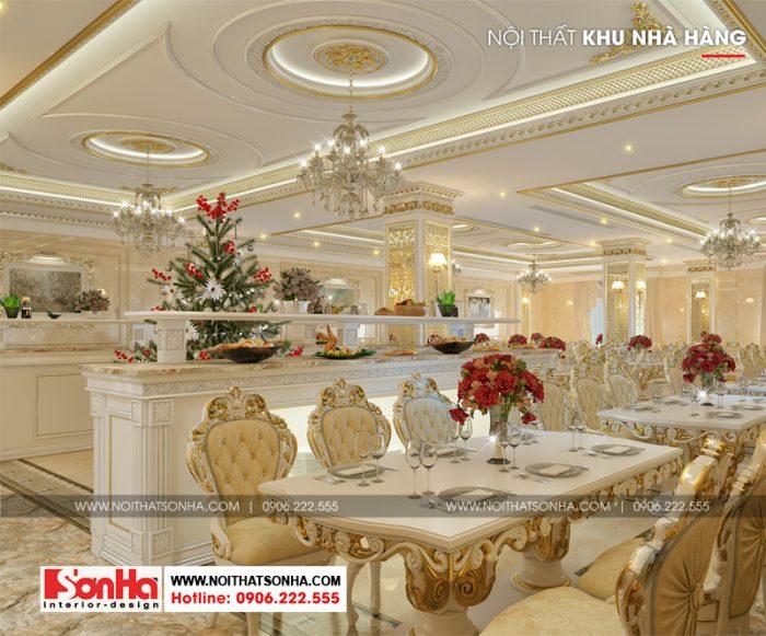 Thiết kế nội thất khu phòng ăn nhà hàng của khách sạn 3 sao này