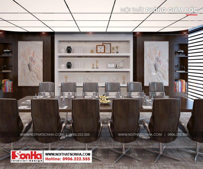 Phương án thiết kế nội thất phòng họp với gam màu trầm ấm