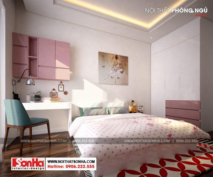 Mẫu phòng ngủ đẹp màu hồng tươi tắn thể hiện lối thiết kế sáng tạo linh hoạt