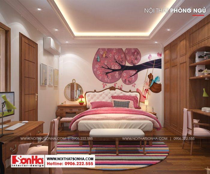 Mẫu phòng ngủ đẹp với gam màu hồng tinh tế kết hợp nội thất gỗ công nghiệp