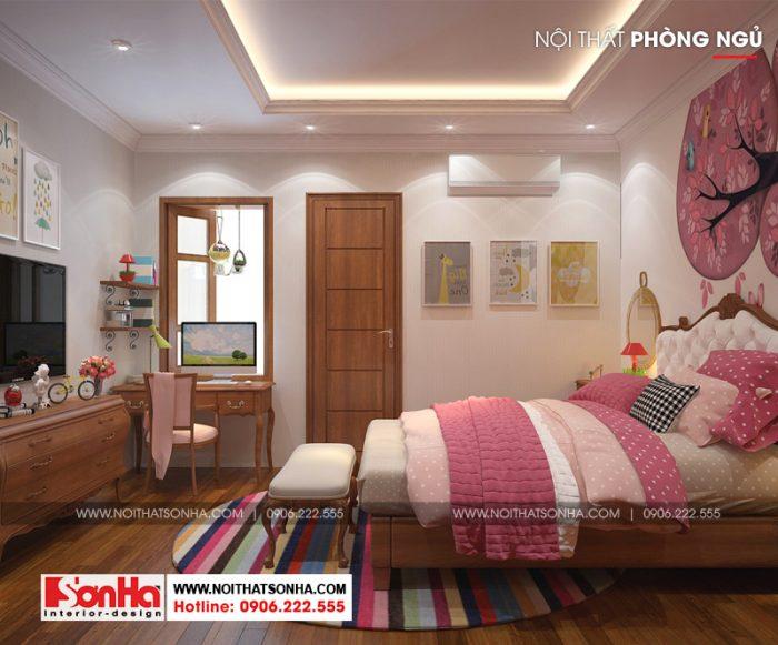 Không gian phòng ngủ trẻ em được thiết kế hợp lý về công năng và màu sắc