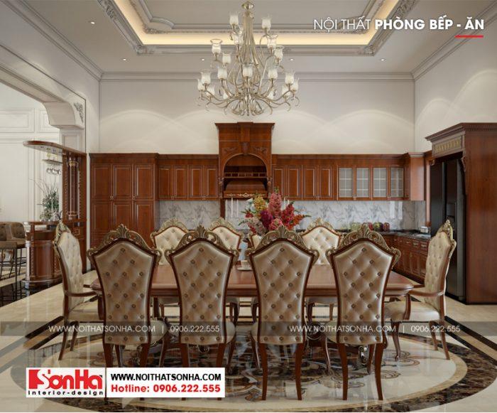 Thiết kế nội thất phòng bếp ăn biệt thự Pháp với đồ nội thất gỗ cao cấp