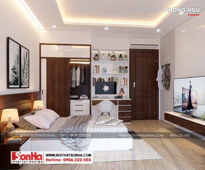 Sàn gỗ và đồ nội thất gỗ được sử dụng trong trang trí phòng ngủ