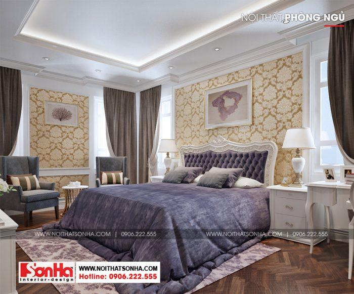 Mẫu phòng ngủ đẹp được trang trí phong cách tân cổ điển sử dụng sàn gỗ