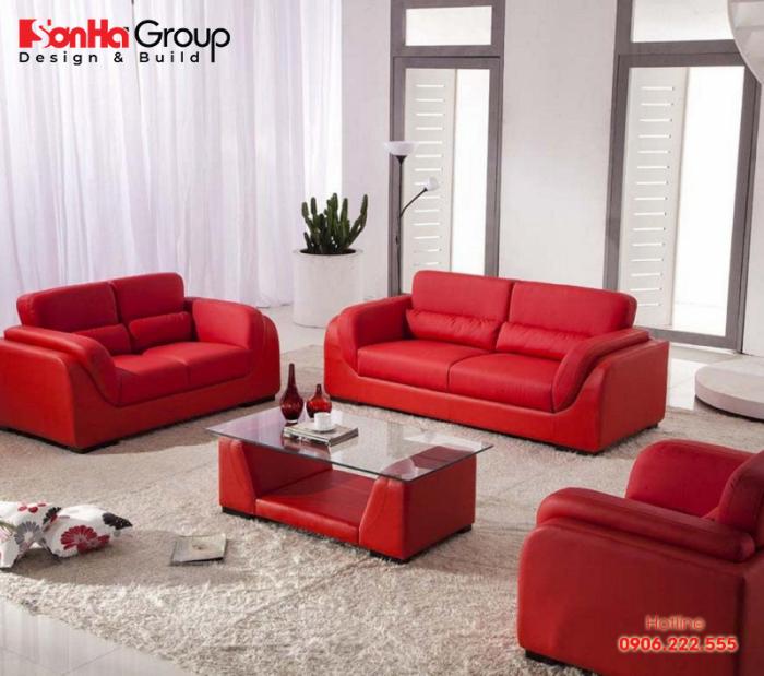 Bộ sofa phòng khách màu đỏ mang đến trải nghiệm mới lạ