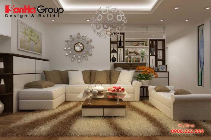 Chọn thảm trải sàn phù hợp cũng giúp làm đẹp không gian phòng khách