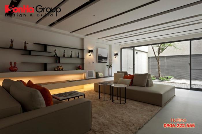Không gian phòng khách đẹp mắt được thiết kế theo phong cách hiện đại