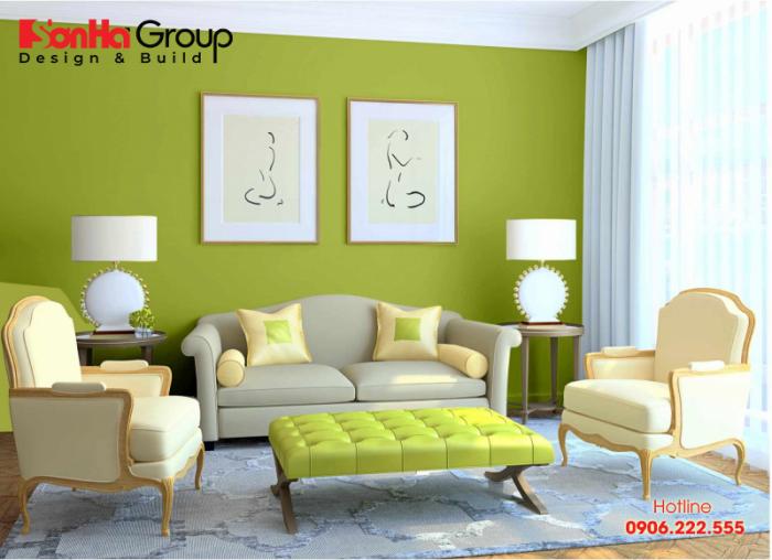 Màu xanh lá trong thiết kế nội thất phòng khách căn hộ chung cư